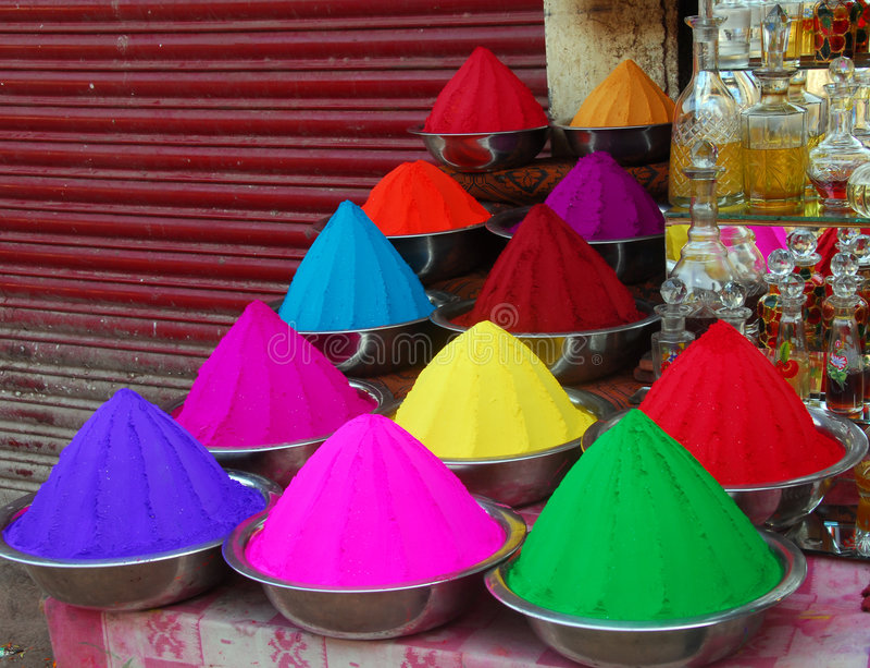 Het poeder van de kleur voor Festival Holi royalty-vrije stock afbeelding