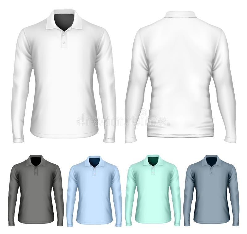 Het polooverhemd van de mensen` s lang koker stock illustratie