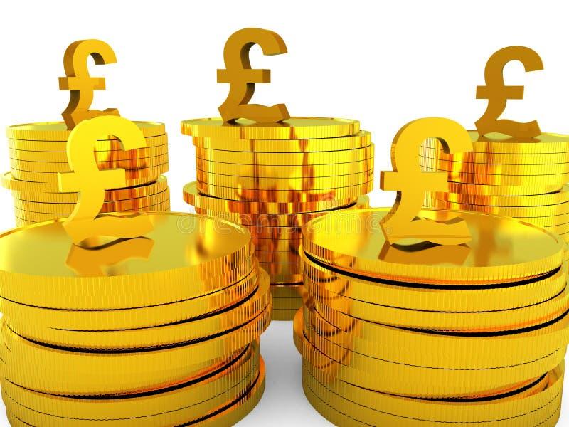 Het pondcontante geld vertegenwoordigt Hoofdponden en Geld royalty-vrije illustratie
