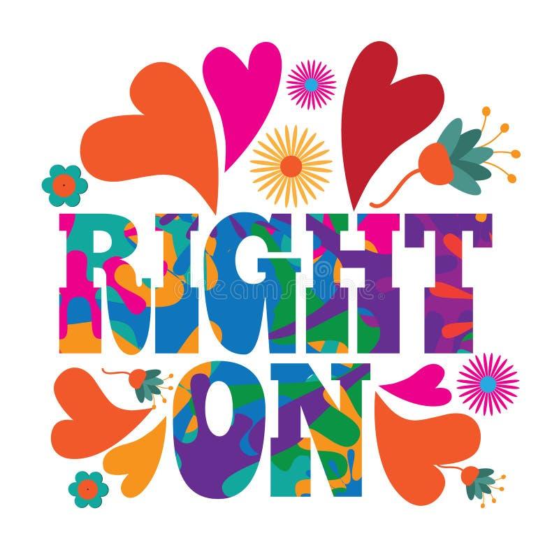 Het pop-art psychedelisch kleurrijk Recht van mod. van de jaren '60stijl op tekstontwerp vector illustratie