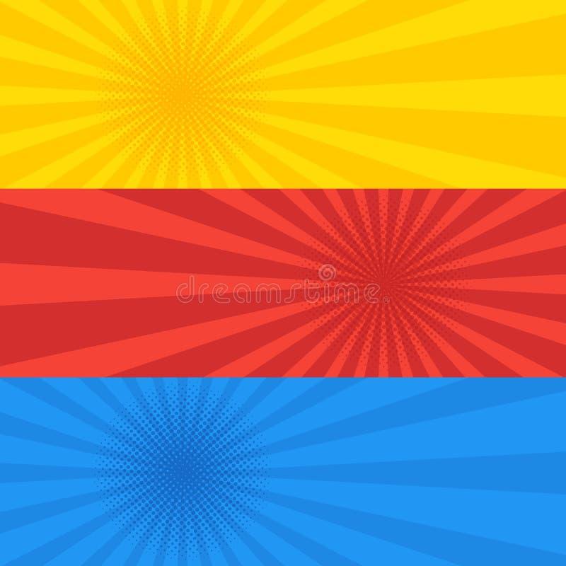 Het pop-art stippelde retro reeks van de stijl gele rode en blauwe banner stock illustratie