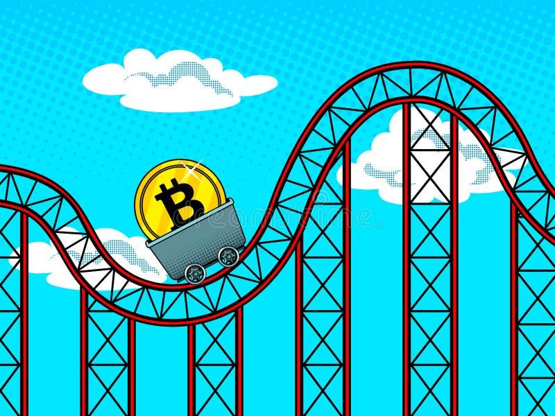 Het pop-art vectorillustratie van Bitcoinschommelingen royalty-vrije illustratie