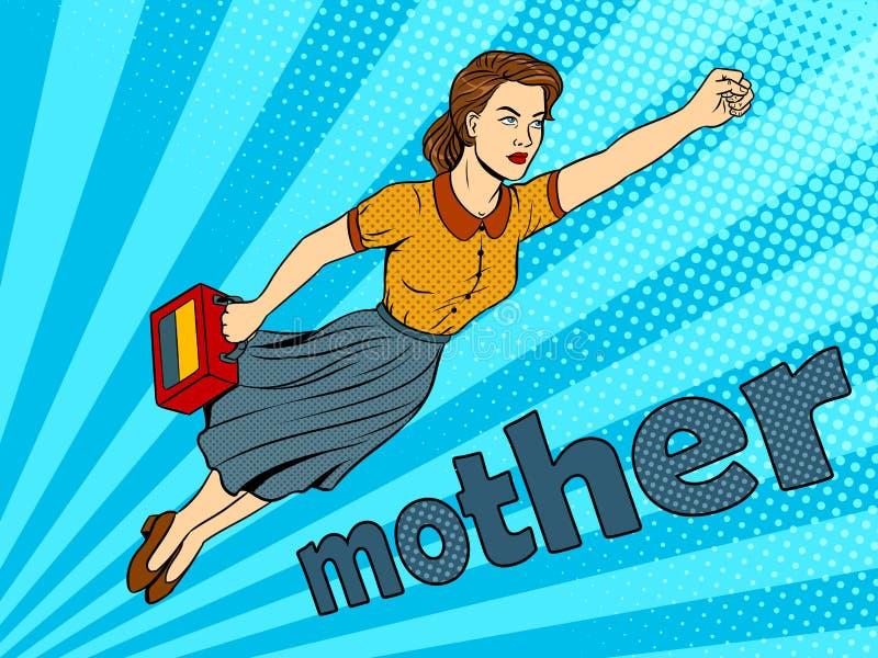 Het pop-art vectorillustratie van de moeder super held vector illustratie