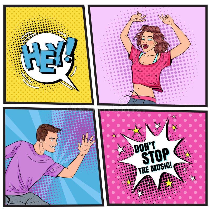 Het Pop Dansen van Art Young Woman en van de Mens Opgewekte Tieners De Uitstekende Affiche van de discoclub, Grappige de Toespraa royalty-vrije illustratie