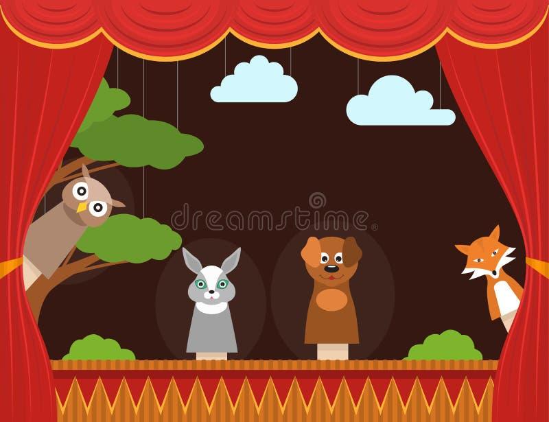 Het Poppentheater van achtergrond beeldverhaalkinderen Kaart Vector vector illustratie