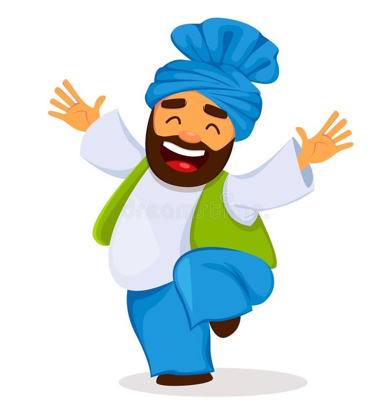 Het populaire volksfestival Lohri van de winterpunjabi Grappige dansende Sikh mens vector illustratie