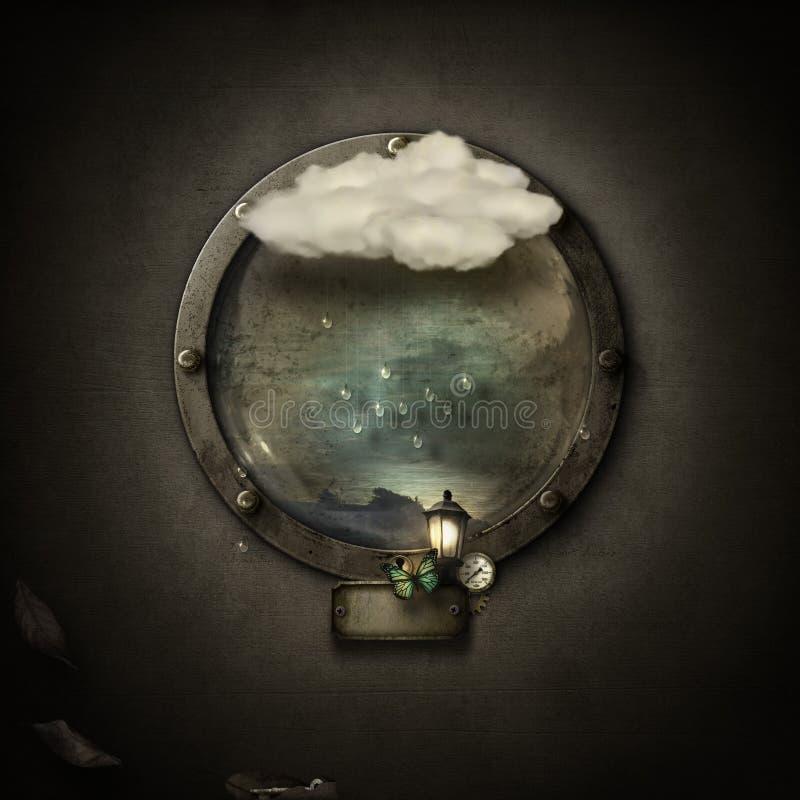 het portaal van de fantasiepatrijspoort op grungeachtergrond vector illustratie