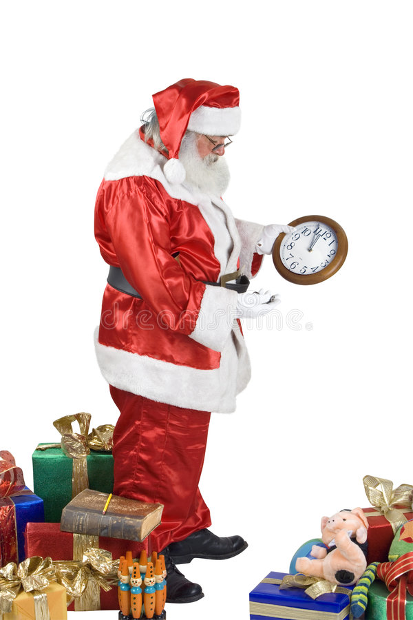 Het Portret dat van de Kerstman zijn klok controleert royalty-vrije stock afbeelding