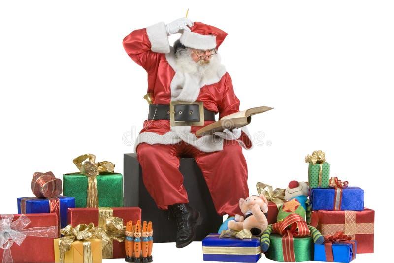 Het Portret dat van de Kerstman zijn lijst controleert royalty-vrije stock afbeelding