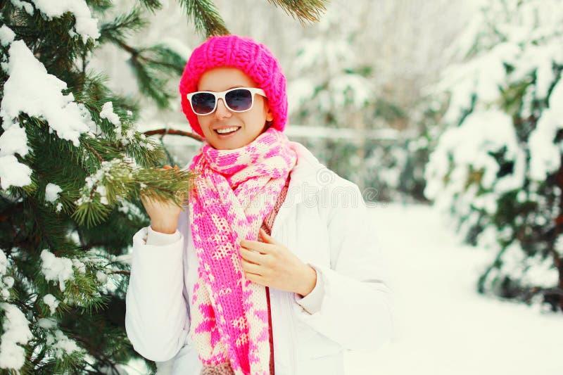 Het portret gelukkige glimlachende vrouw van de manierwinter dichtbij de boom die van takkerstmis kleurrijke gebreide hoed in sne stock foto