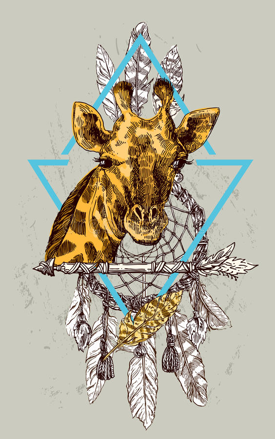 Het portret og giraf van de Beautfulhand getrokken illustratie stock illustratie