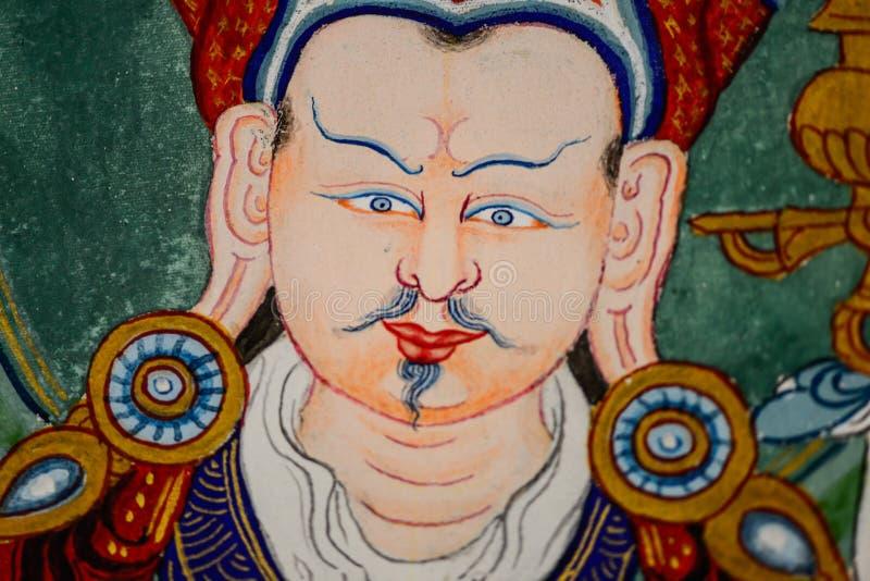 Het portret het Tibetaanse thangka van Boedha Padmasambhava schilderen, geneeskunde Boedha stock foto's