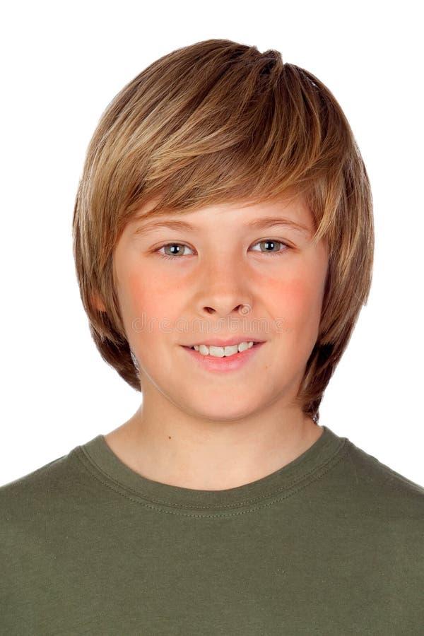 Het portret van blond preteen jongen royalty-vrije stock afbeeldingen