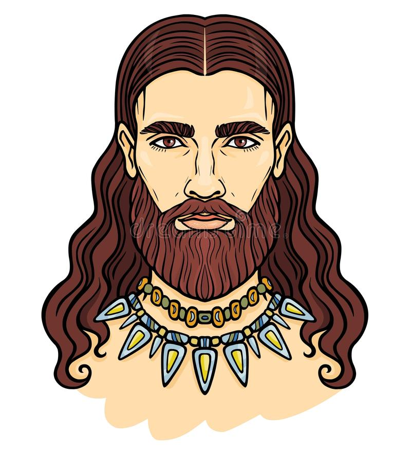 Het portret van de animatiekleur van de jonge gebaarde man met lang haar in een oude halsband royalty-vrije illustratie