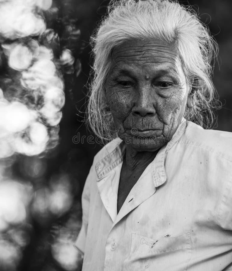 Het portret van de Asinvrouw in zwart-wit. royalty-vrije stock foto's