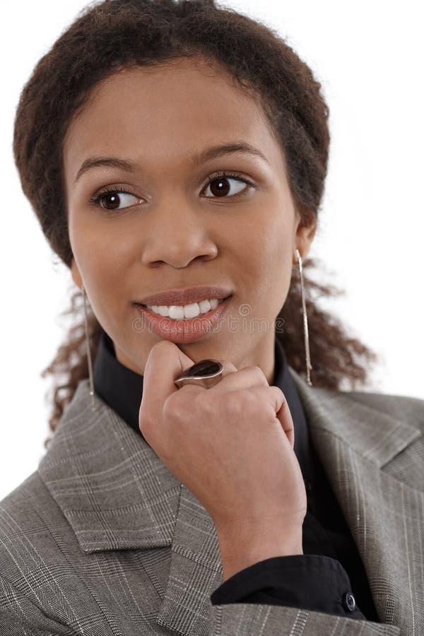 Het portret van de close-up van afroonderneemster royalty-vrije stock foto