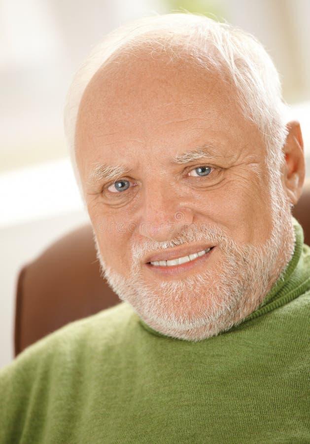Het portret van de close-up van de vrolijke oude mens royalty-vrije stock fotografie