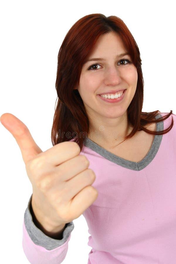 Het portret van de close-up van een gelukkige jonge dame stock foto