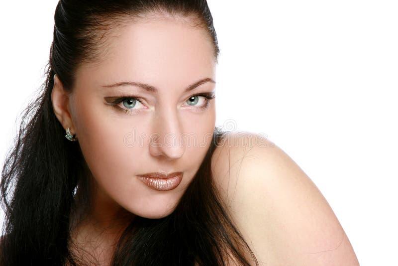 Het portret van de close-up van een mooie brunette stock afbeeldingen