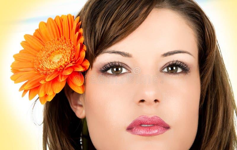 Het portret van de close-up van mooie vrouw. royalty-vrije stock afbeelding