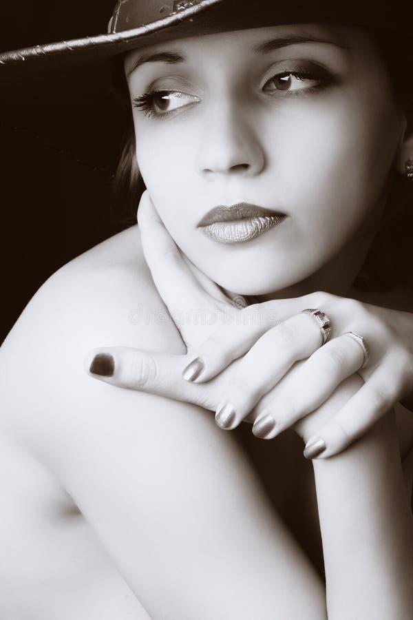 Het portret van de close-up van mooie vrouw stock afbeelding