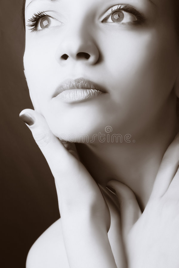 Het portret van de close-up van mooie vrouw stock afbeeldingen