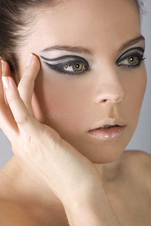 Het portret van de close-up van mooie vrouw met professi stock foto