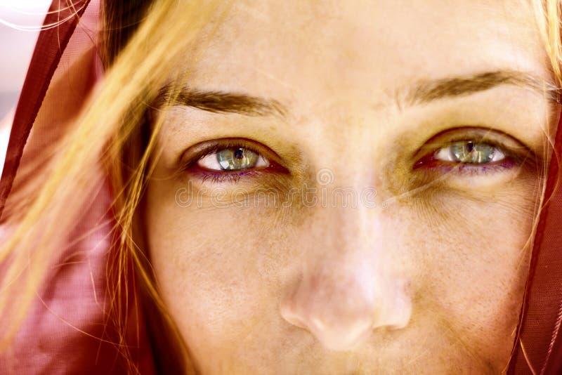 Het portret van de close-up van vrouw met mooie ogen royalty-vrije stock afbeelding