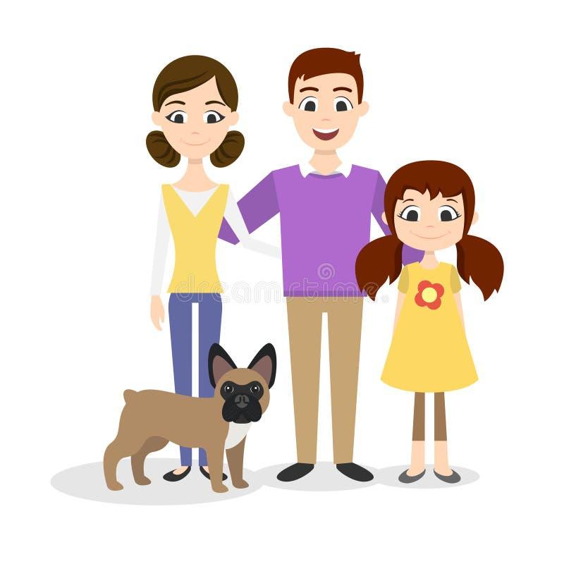 Het portret van de familie Mamma, Papa, dochter en een Franse buldog stock illustratie