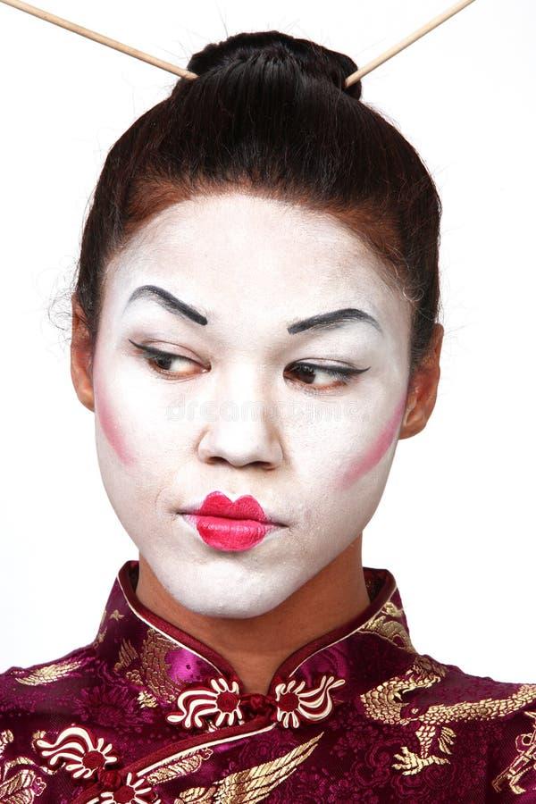 Het portret van de geisha royalty-vrije stock afbeeldingen