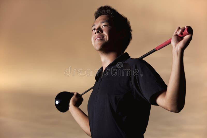 Het portret van de golfspeler stock foto