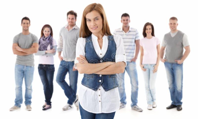 Het portret van de groep van gelukkige jonge mensen stock afbeeldingen