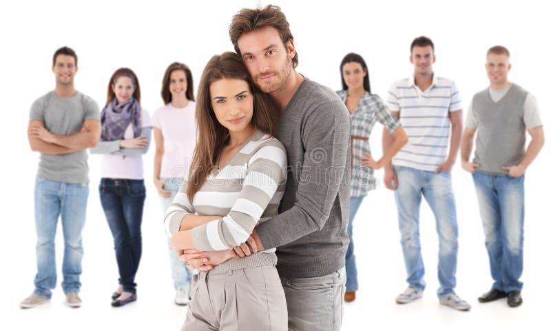 Het portret van de groep van gelukkige jonge mensen stock fotografie