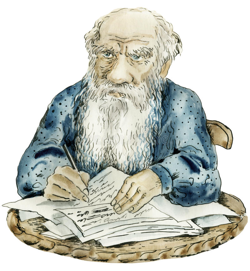 Het portret van de karikatuur van Leeuw Tolstoy stock illustratie