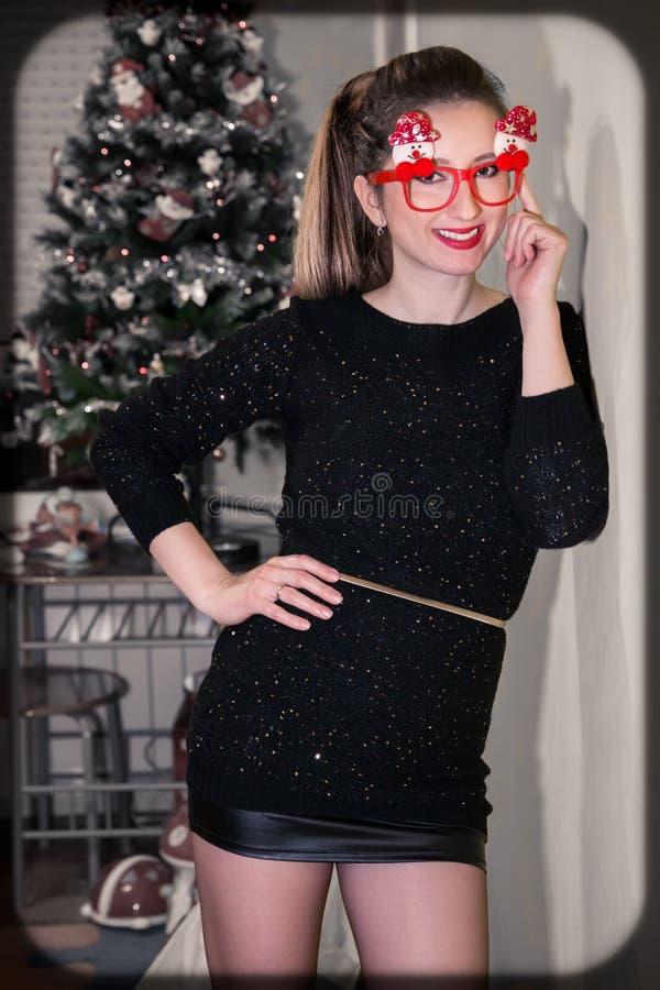 Het portret van de Kerstmisvrouw royalty-vrije stock afbeelding