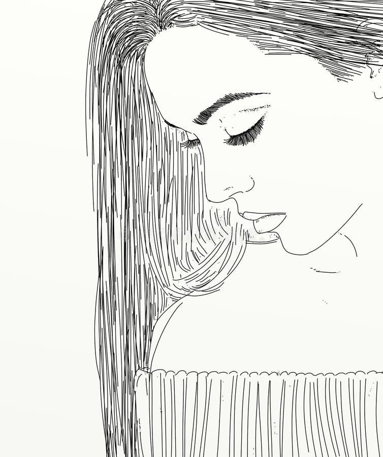Het portret van de lijnkunst van vrouw stock illustratie