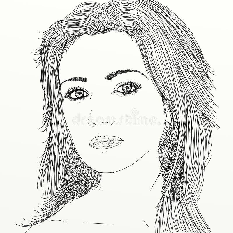 Het portret van de lijnkunst van vrouw vector illustratie