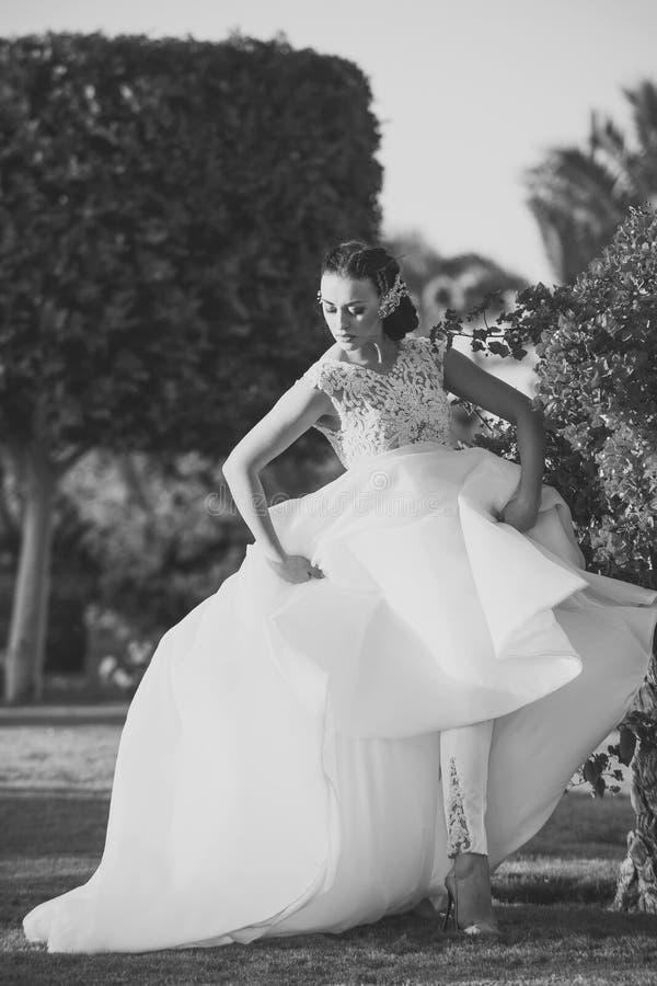 Het Portret van de Manier van de schoonheid Meisjesbruid in mooie huwelijkskleding met volledige rok stock fotografie