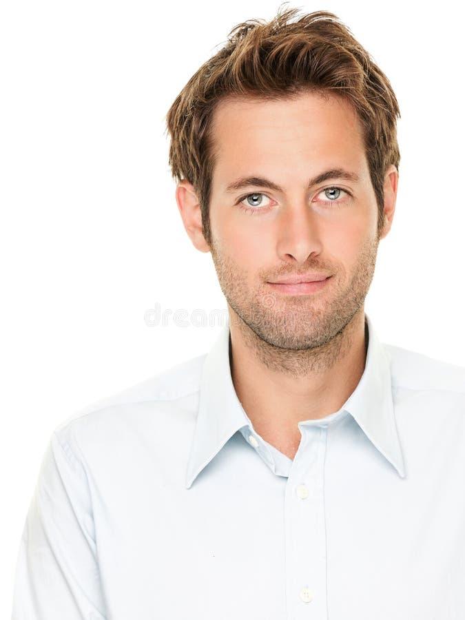 Het portret van de mens dat op wit wordt geïsoleerdr stock fotografie