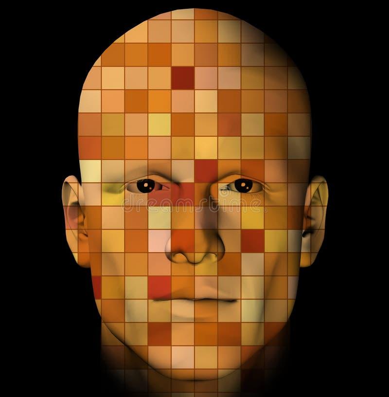 Het portret van de mens met kleurrijke vierkanten vector illustratie