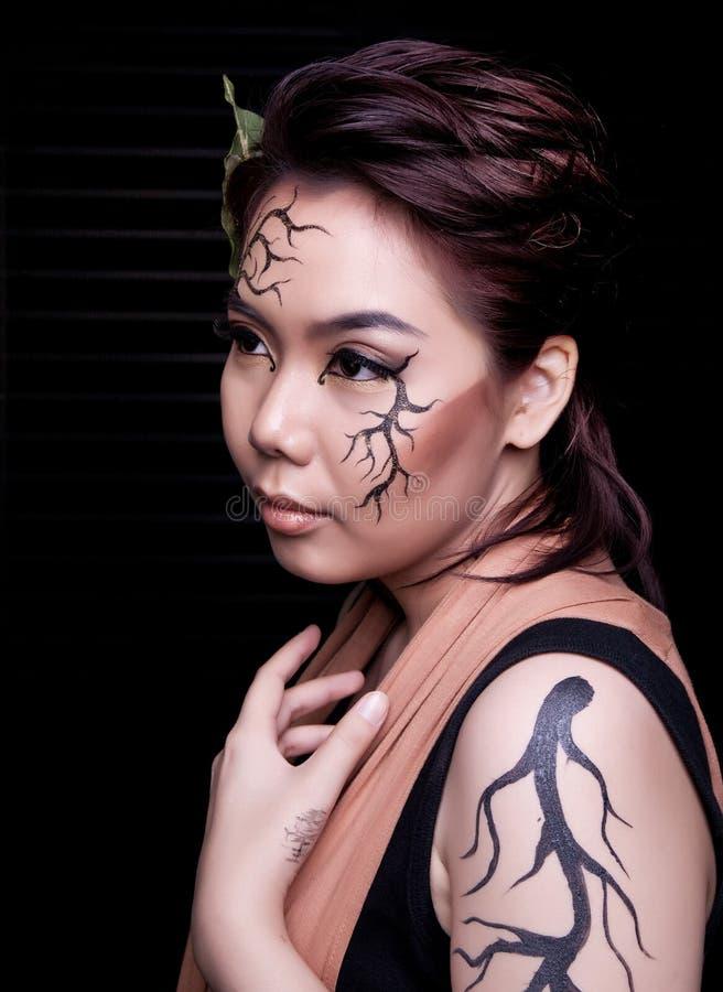 Het portret van de schoonheid Creatieve make-up stock fotografie