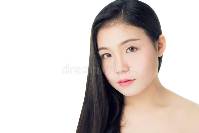 Het portret van de schoonheid en de gezondheid van de vrouwenhuid, voor kuuroordproducten en maakt omhoog De huid is vlot en mooi stock foto's
