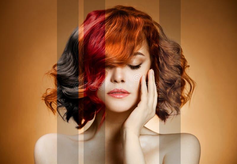 Het Portret van de schoonheid. Het Kleurende Haar van het concept stock afbeelding