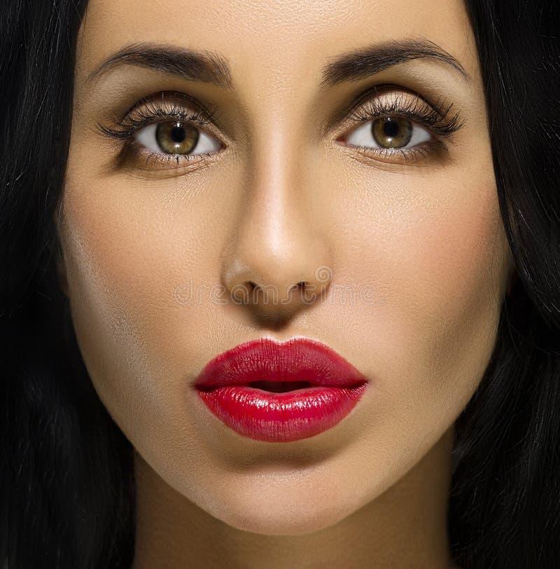Het Portret van de schoonheidsvrouw. Professionele Make-up voor Brunette stock afbeeldingen