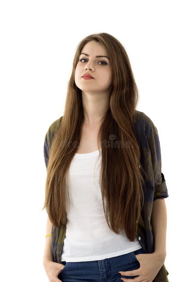 Het portret van de schoonheidsvrouw van tienermeisje het mooie vrolijke genieten van w royalty-vrije stock afbeeldingen