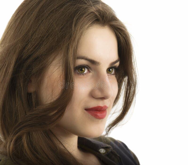Het portret van de schoonheidsvrouw van tienermeisje het mooie vrolijke genieten van w stock foto's