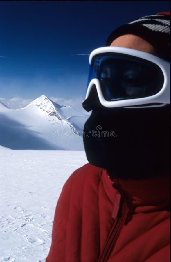 Het portret van de skiër stock foto