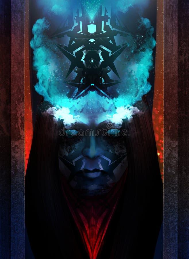 Het portret van de verschrikkingsvrouw stock illustratie