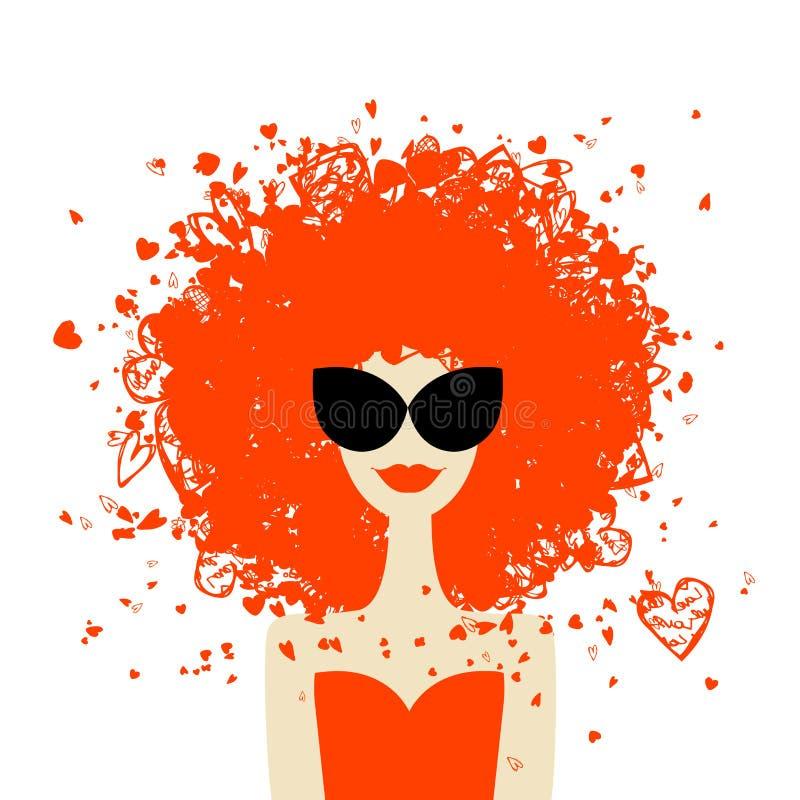 Het portret van de vrouw met oranje kapsel, de zomerstijl stock illustratie