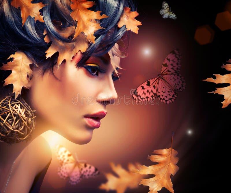 Het Portret van de Vrouw van de herfst stock foto's